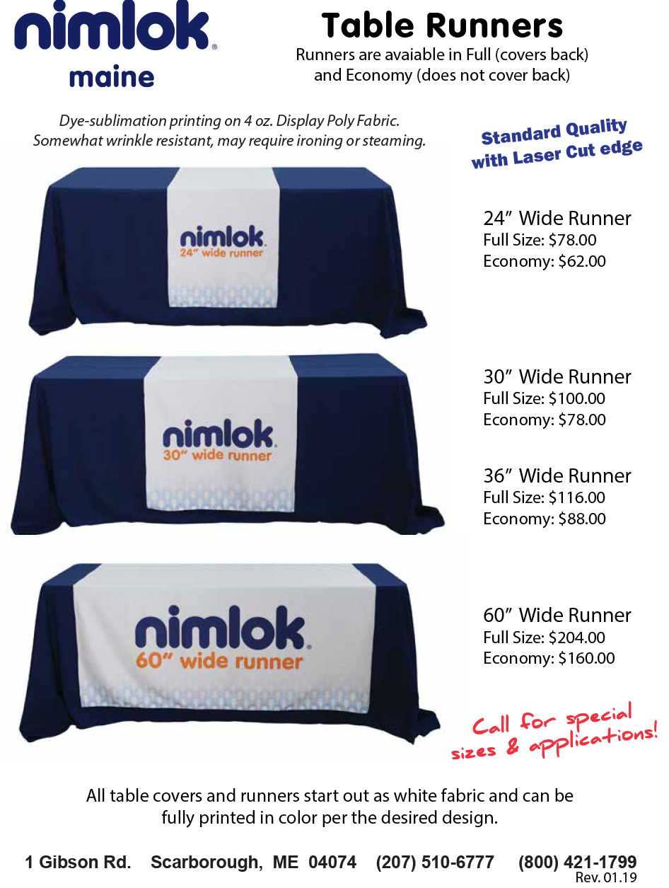 Standard Trade Show Table Runners
